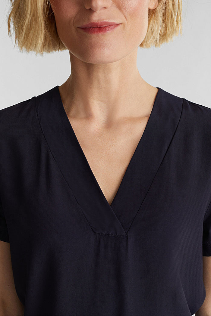 Blouse top with a V-neckline, NAVY, detail image number 2