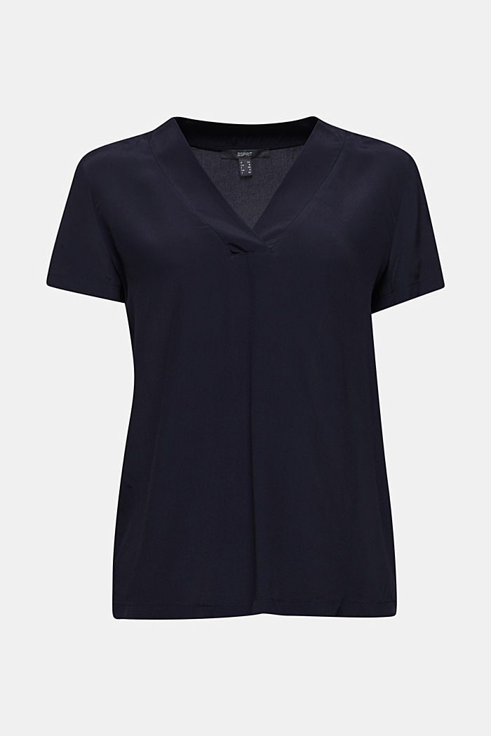 Blouse top with a V-neckline, NAVY, detail image number 6
