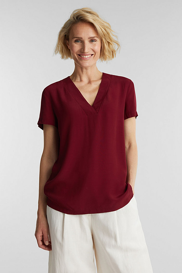 Blouse top with a V-neckline, BORDEAUX RED, detail image number 0