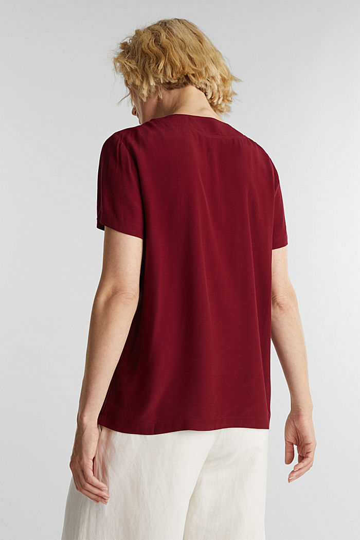 Blouse top with a V-neckline, BORDEAUX RED, detail image number 3