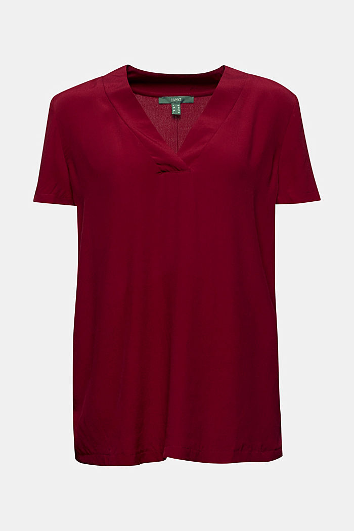 Blouse top with a V-neckline, BORDEAUX RED, detail image number 7