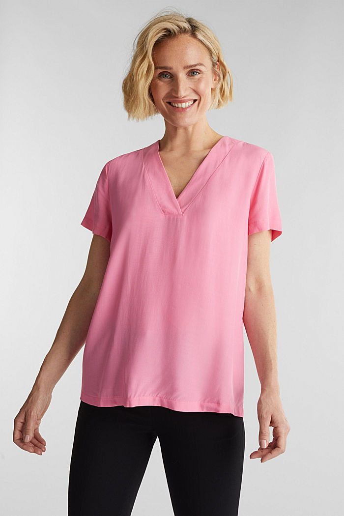 Blouse top with a V-neckline, PINK, detail image number 0