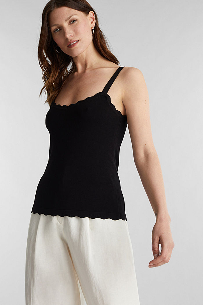 Fine knit top with wavy edges, BLACK, detail image number 0