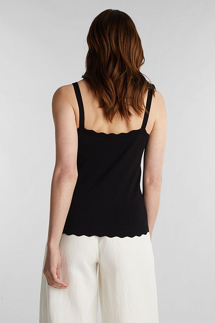 Fine knit top with wavy edges, BLACK, detail image number 3