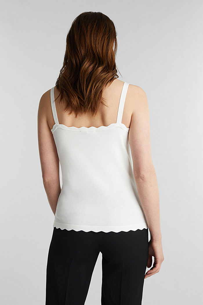 Fine knit top with wavy edges, OFF WHITE, detail image number 3