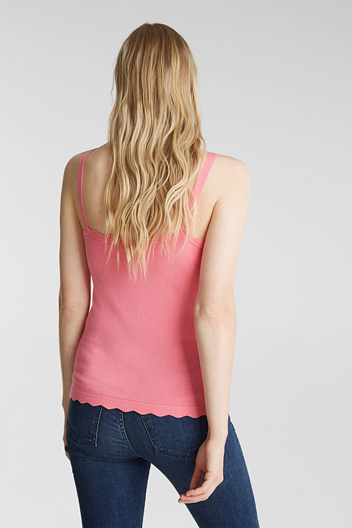 Fine knit top with wavy edges, PINK, detail image number 3