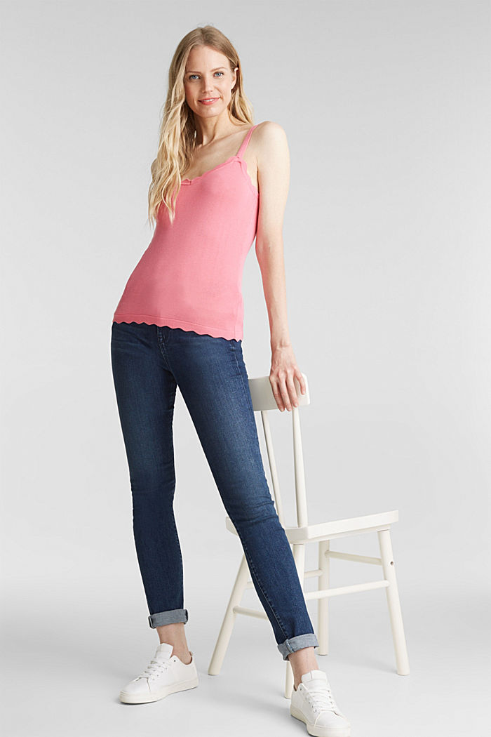 Fine knit top with wavy edges, PINK, detail image number 1