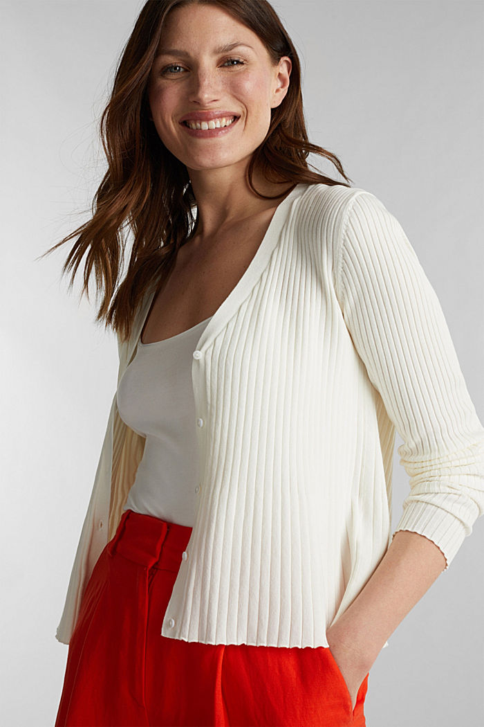Blended lyocell: TENCEL™: Ribbed cardigan, OFF WHITE, detail image number 0