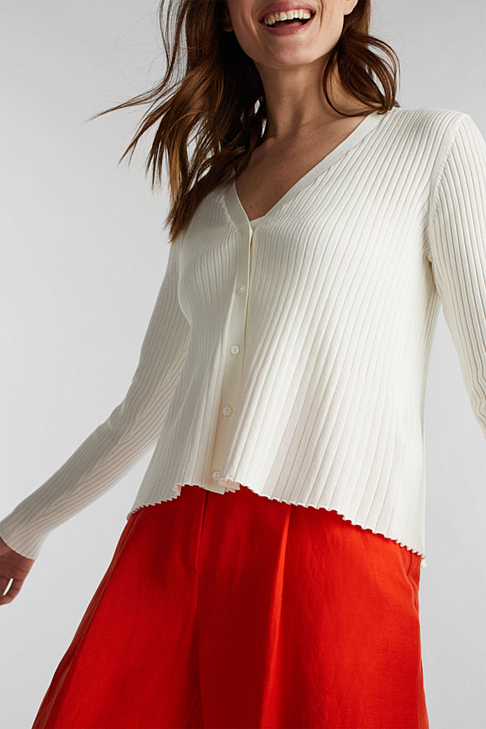 Blended lyocell: TENCEL™: Ribbed cardigan, OFF WHITE, detail image number 2