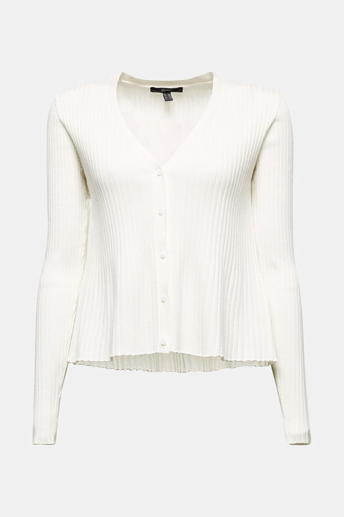 Blended lyocell: TENCEL™: Ribbed cardigan, OFF WHITE, detail image number 5