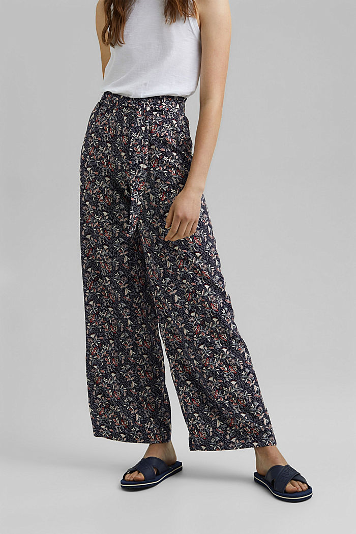 Printed wide-leg trousers, NAVY, detail image number 0