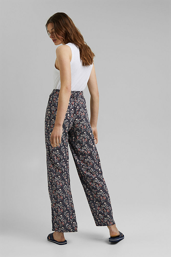Printed wide-leg trousers, NAVY, detail image number 3