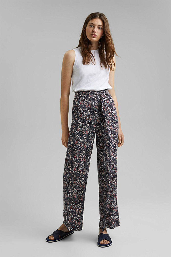 Printed wide-leg trousers, NAVY, detail image number 1