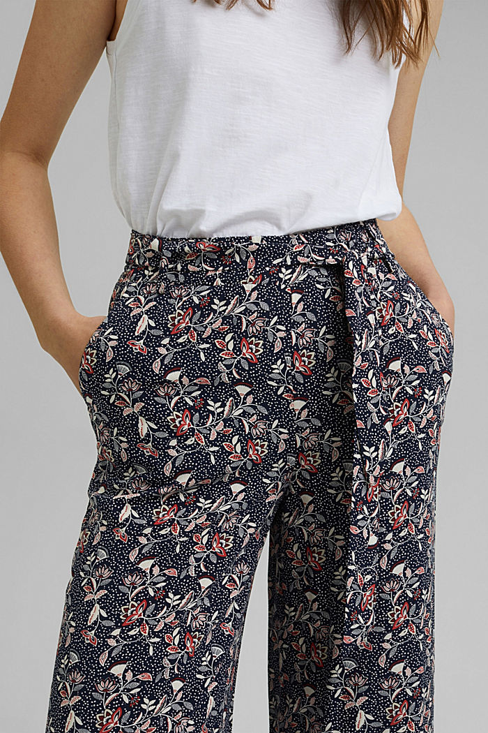 Printed wide-leg trousers, NAVY, detail image number 2