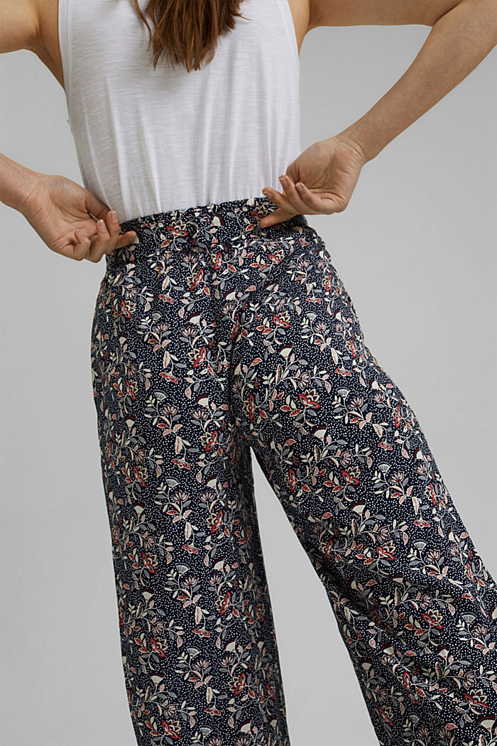Printed wide-leg trousers, NAVY, detail image number 5