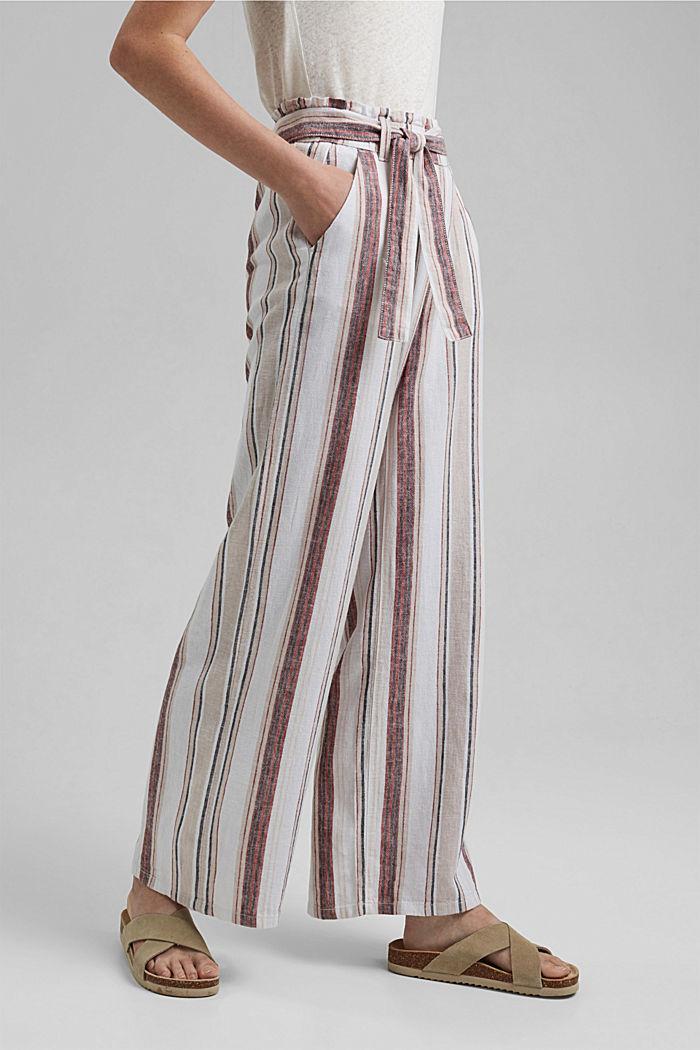 En mezcla de lino: pantalón con cintura elástica