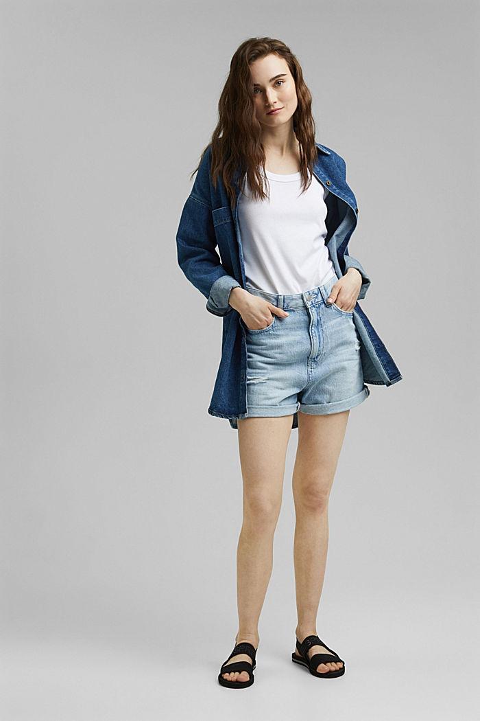 Short en jean, 100% coton biologique, BLUE LIGHT WASHED, detail image number 1