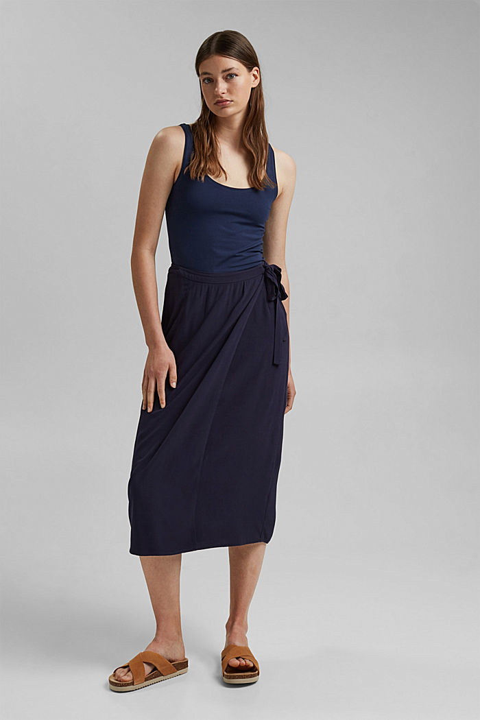 Wrap-over skirt made of LENZING™ ECOVERO™, NAVY, detail image number 1