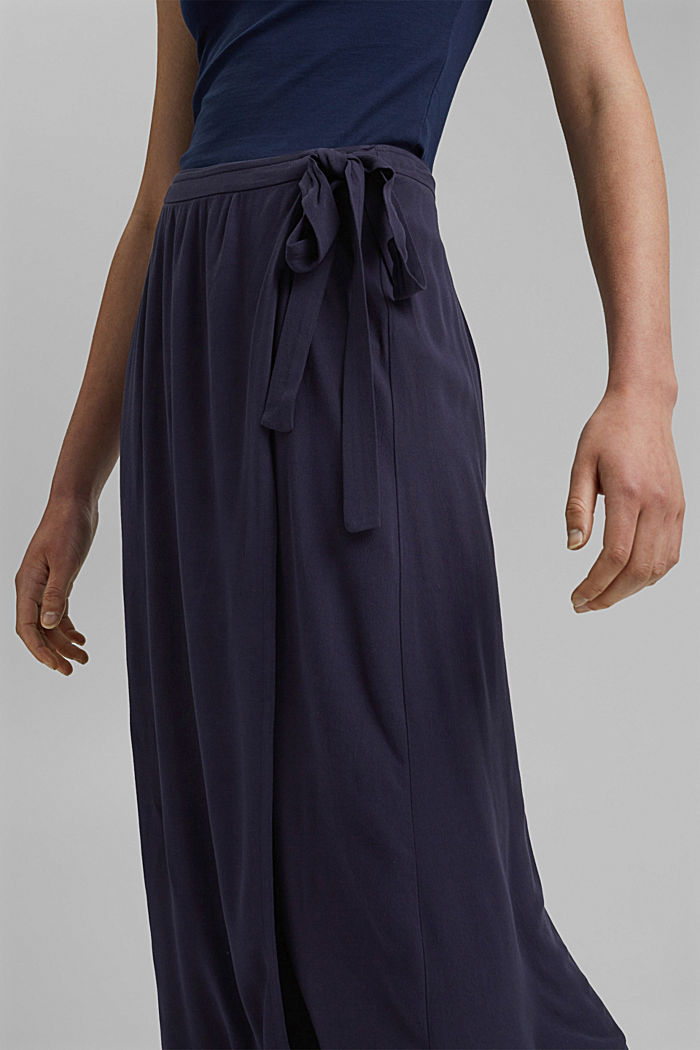 Wrap-over skirt made of LENZING™ ECOVERO™, NAVY, detail image number 2