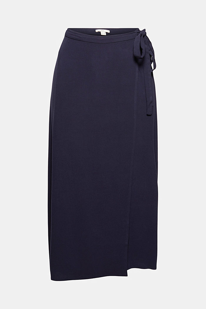 Wrap-over skirt made of LENZING™ ECOVERO™, NAVY, detail image number 6