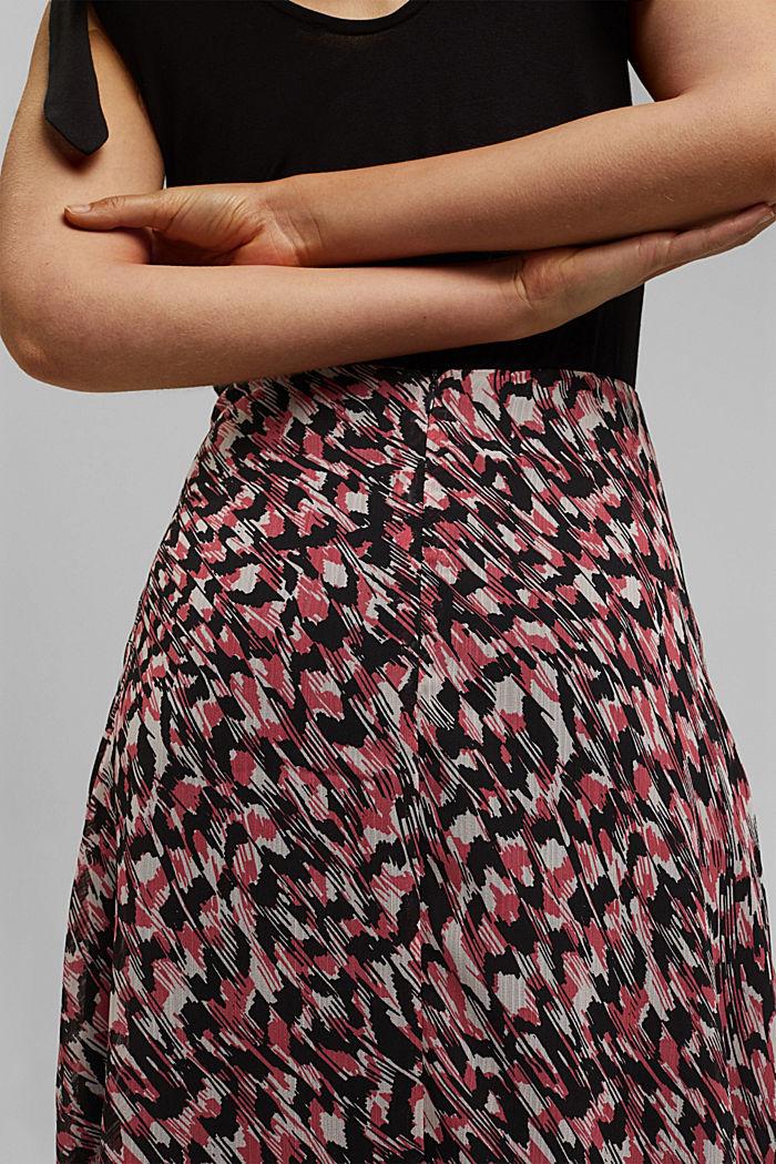 Jupe longueur midi en mousseline imprimée, BLACK, detail image number 2