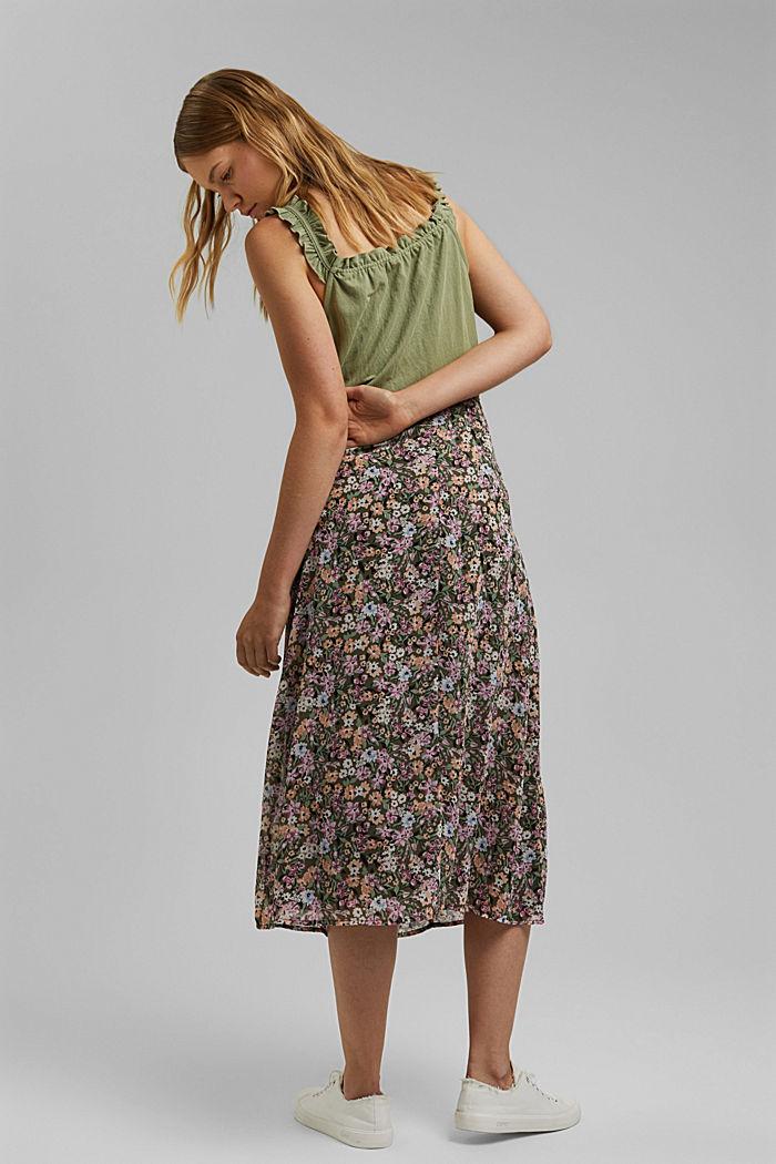 falda midi de gasa con estampado, KHAKI GREEN, detail image number 3