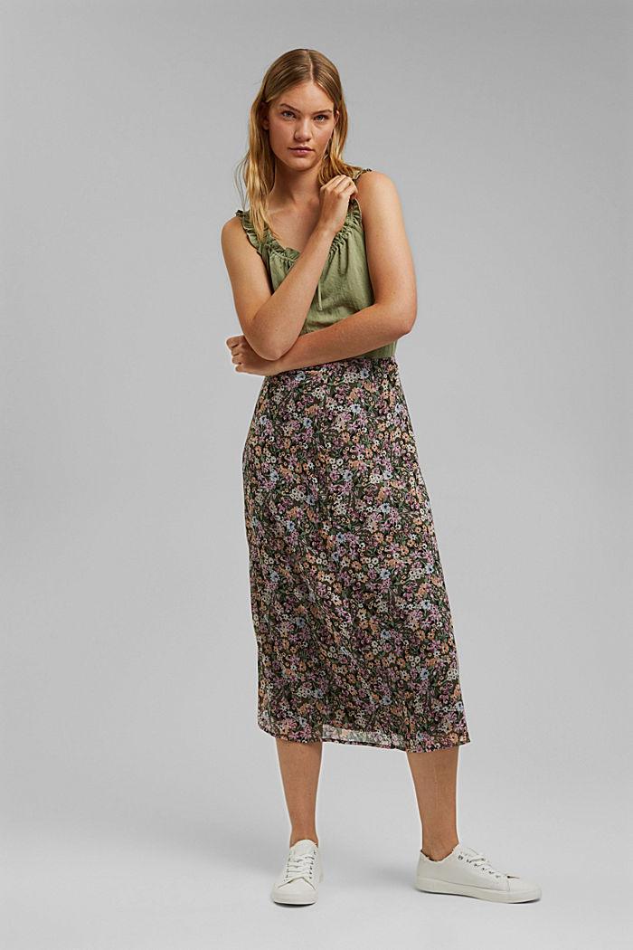 falda midi de gasa con estampado, KHAKI GREEN, detail image number 1