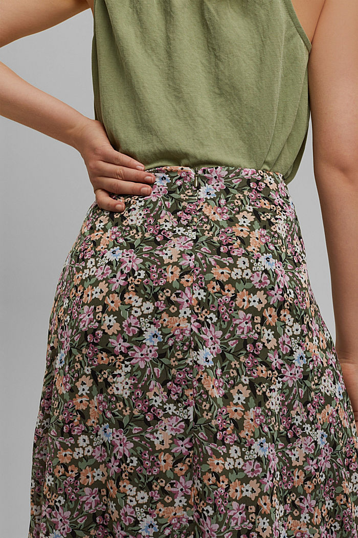 falda midi de gasa con estampado, KHAKI GREEN, detail image number 2