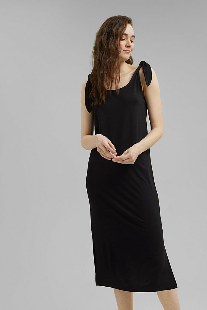Jersey jurk met geknoopt effect, LENZING™ ECOVERO™, BLACK, detail image number 0