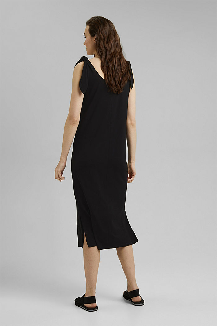 Jersey jurk met geknoopt effect, LENZING™ ECOVERO™, BLACK, detail image number 2