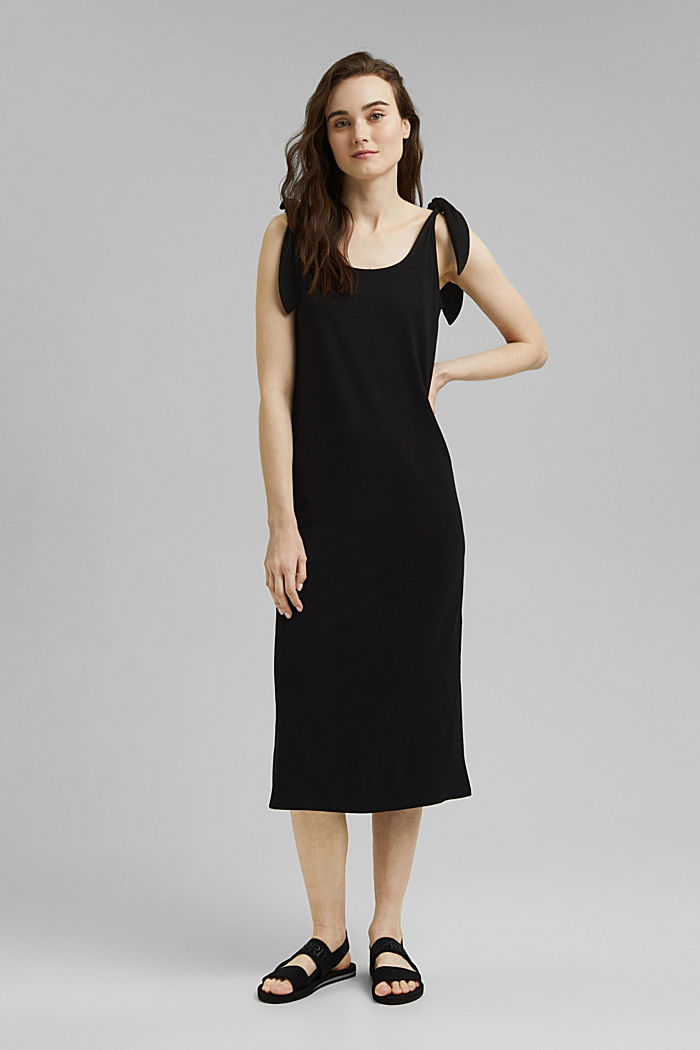 Jersey jurk met geknoopt effect, LENZING™ ECOVERO™, BLACK, detail image number 1
