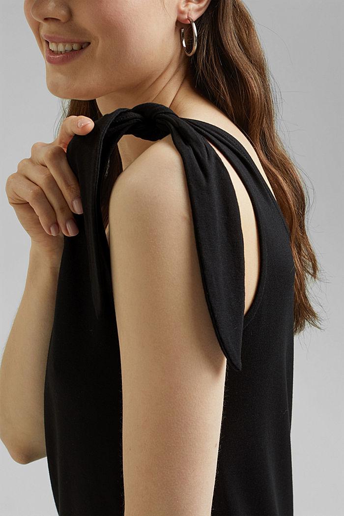 Jersey jurk met geknoopt effect, LENZING™ ECOVERO™, BLACK, detail image number 3