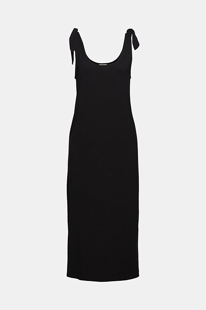Jersey jurk met geknoopt effect, LENZING™ ECOVERO™, BLACK, detail image number 5