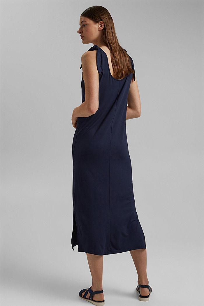Jersey jurk met geknoopt effect, LENZING™ ECOVERO™, NAVY, detail image number 2