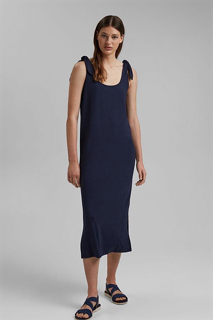 Jersey jurk met geknoopt effect, LENZING™ ECOVERO™, NAVY, detail image number 1