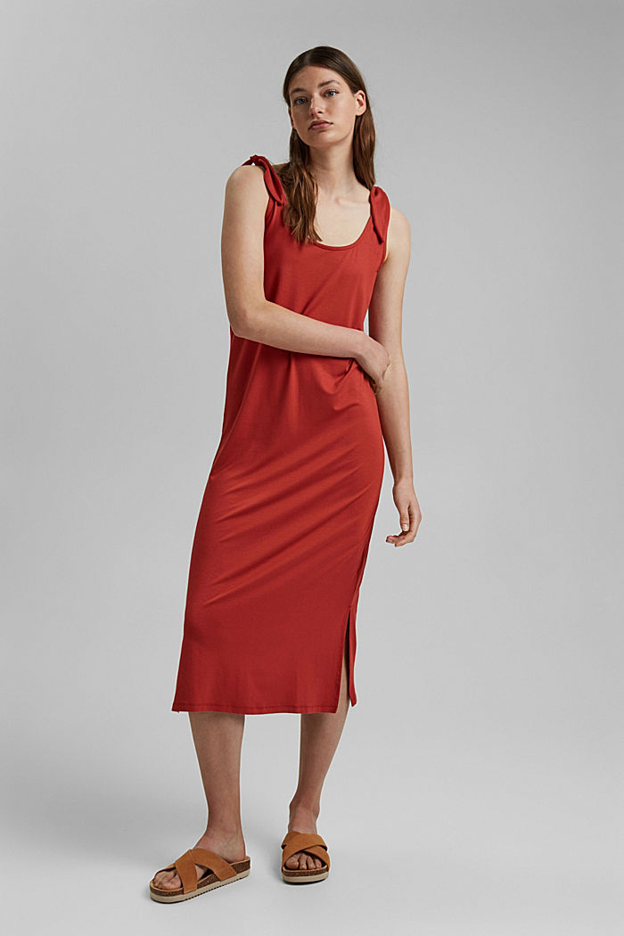 Jersey knotted dress, LENZING™ ECOVERO™, TERRACOTTA, detail image number 0