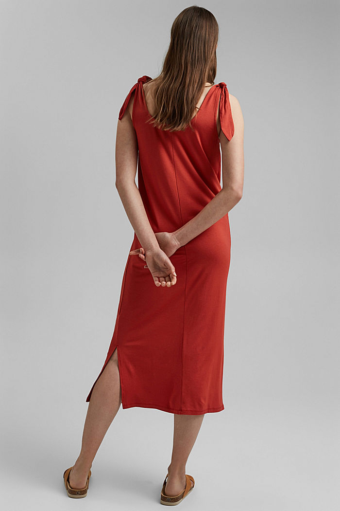 Jersey knotted dress, LENZING™ ECOVERO™, TERRACOTTA, detail image number 2