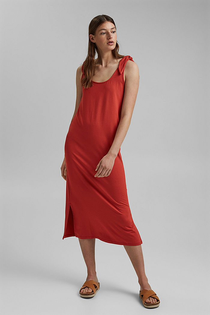 Jersey knotted dress, LENZING™ ECOVERO™, TERRACOTTA, detail image number 1