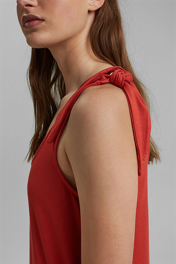 Jersey knotted dress, LENZING™ ECOVERO™, TERRACOTTA, detail image number 3