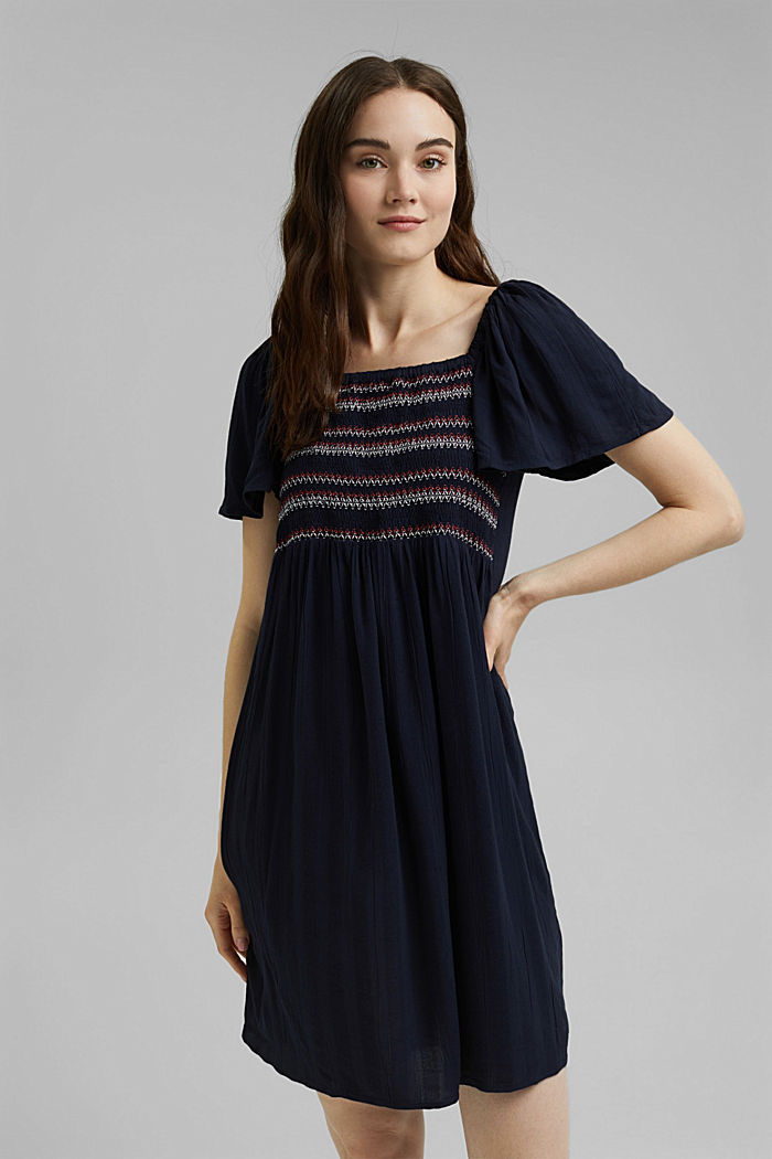 Tent dress with smocked details, NAVY, detail image number 0