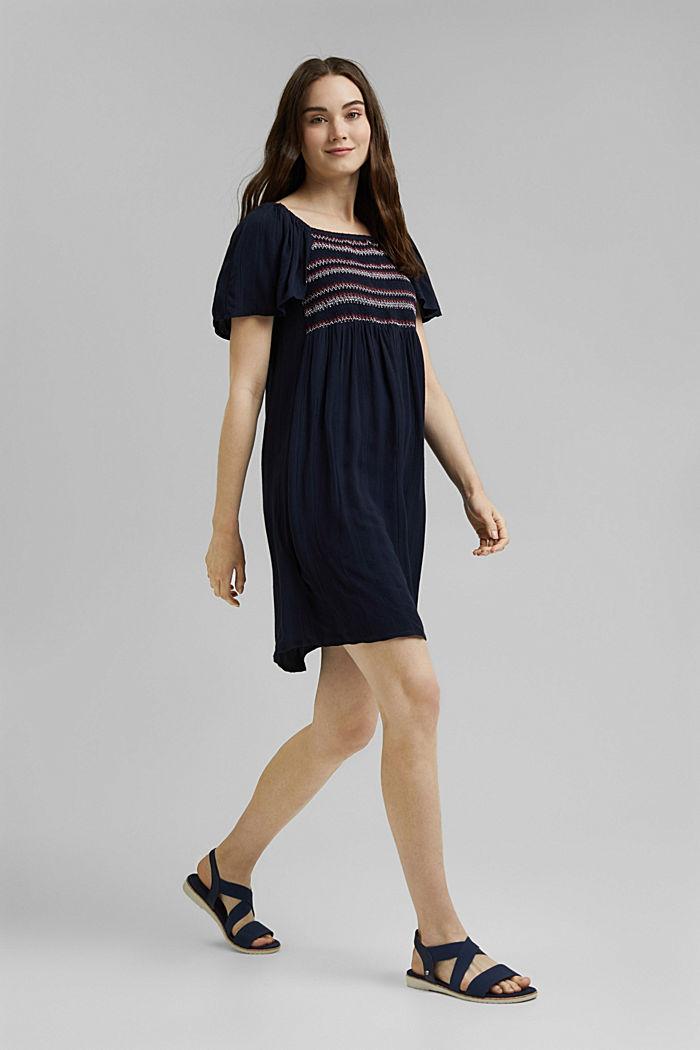 Tent dress with smocked details, NAVY, detail image number 1