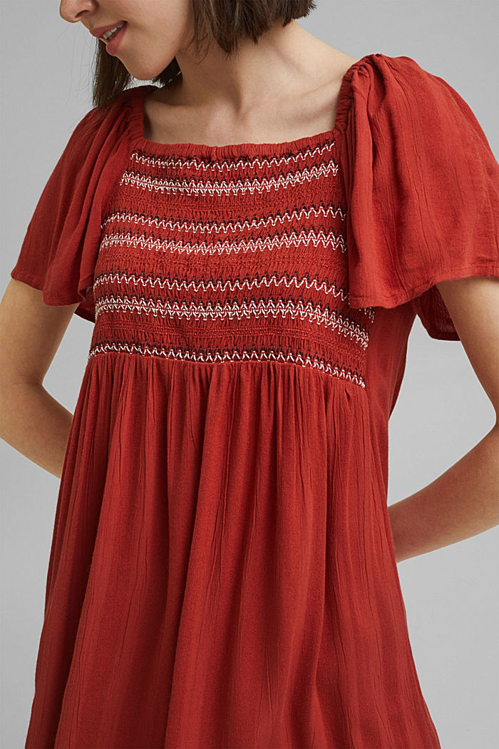 Tent dress with smocked details, TERRACOTTA, detail image number 3