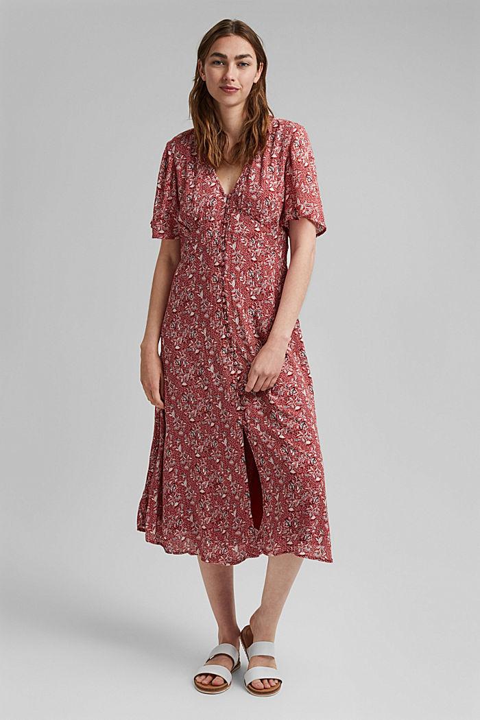 Midi-jurk met print, LENZING™ ECOVERO™, TERRACOTTA, detail image number 0