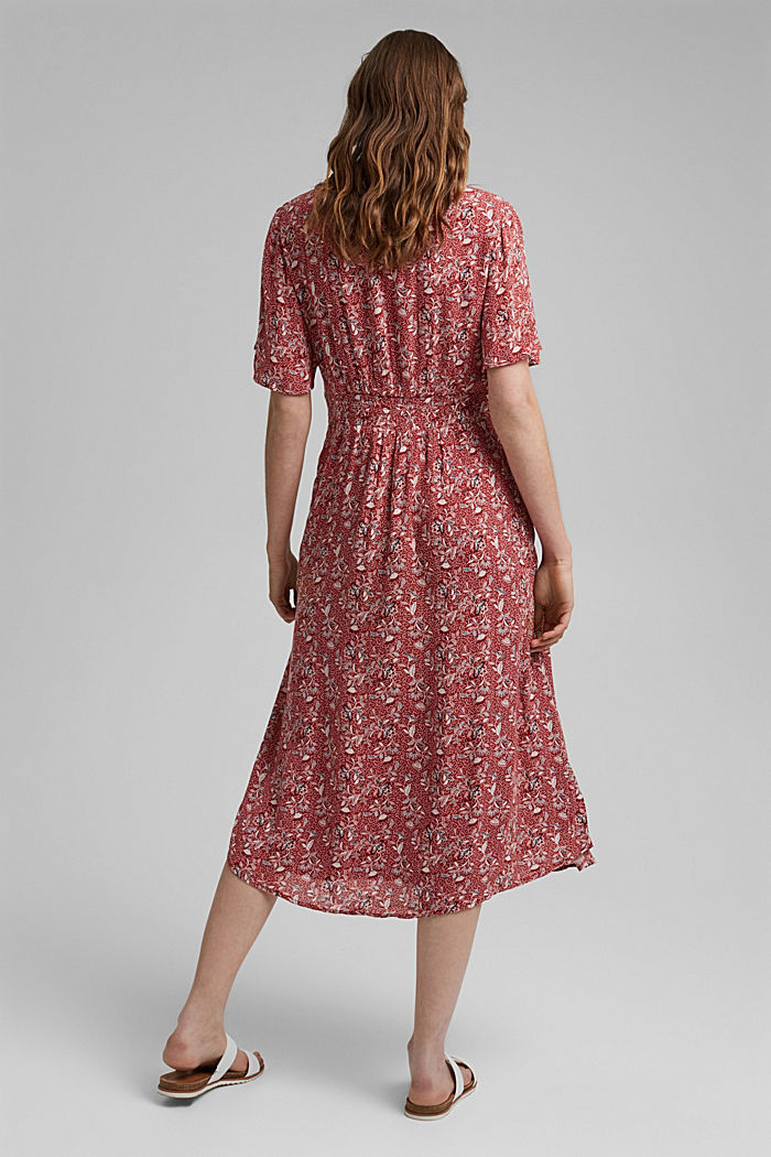 Midi-jurk met print, LENZING™ ECOVERO™, TERRACOTTA, detail image number 2