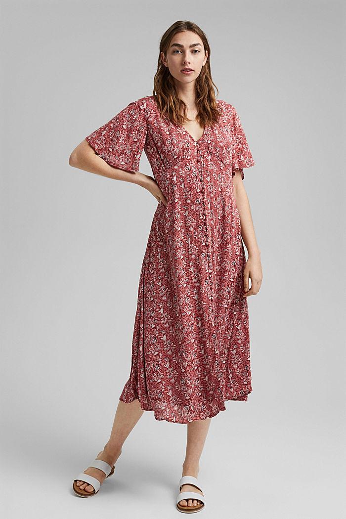 Midi-jurk met print, LENZING™ ECOVERO™, TERRACOTTA, detail image number 1