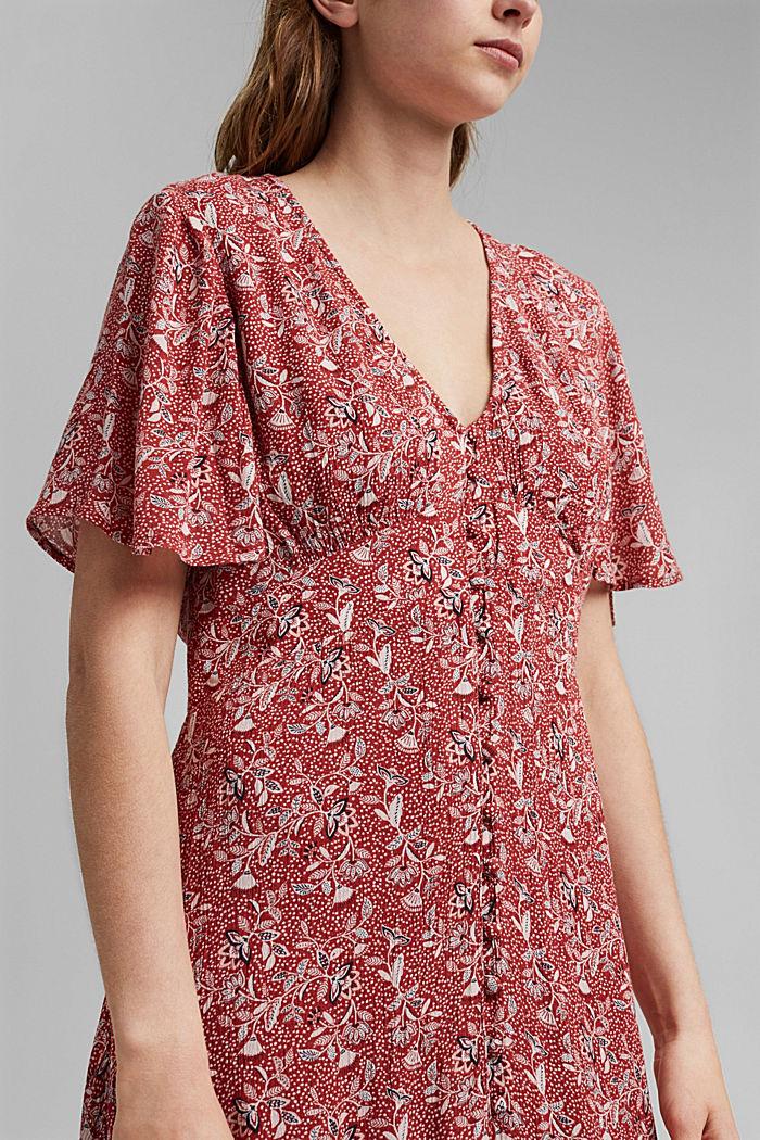 Midi-jurk met print, LENZING™ ECOVERO™, TERRACOTTA, detail image number 3