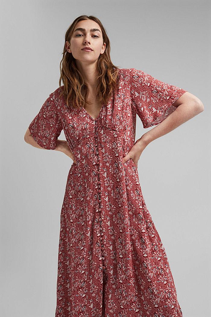 Midi-jurk met print, LENZING™ ECOVERO™, TERRACOTTA, detail image number 6