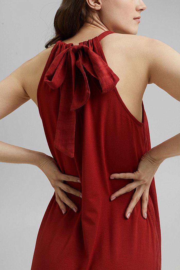 Minišaty se zavazováním za krkem s vlákny LENZING™ ECOVERO™, TERRACOTTA, detail image number 3