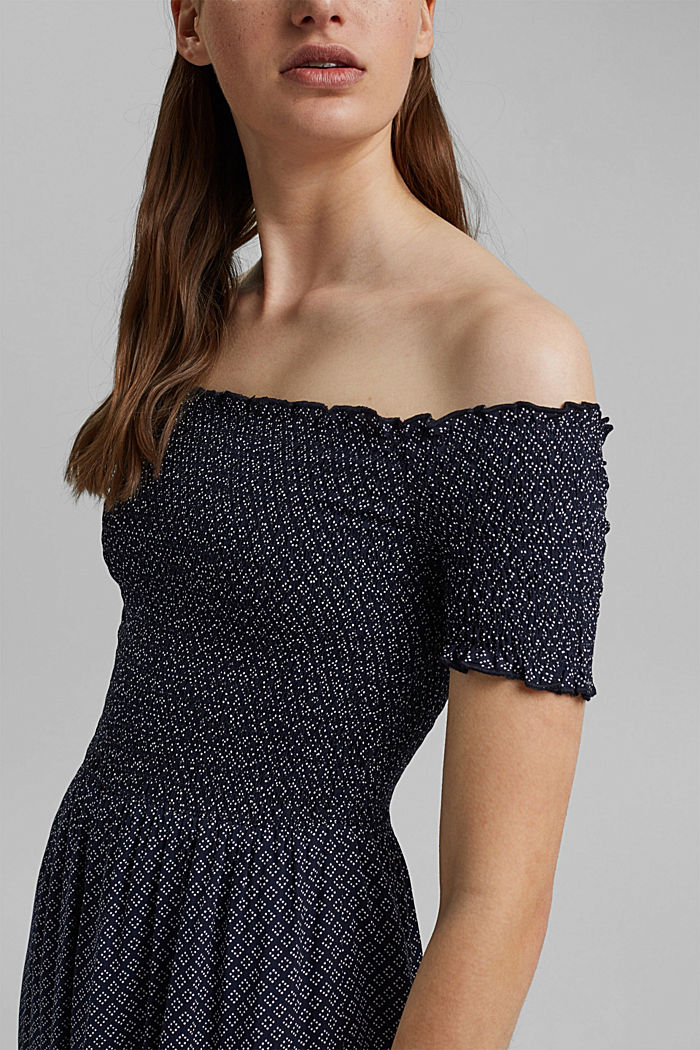 Smocked off-the-shoulder dress, LENZING™ ECOVERO™, NAVY, detail image number 3