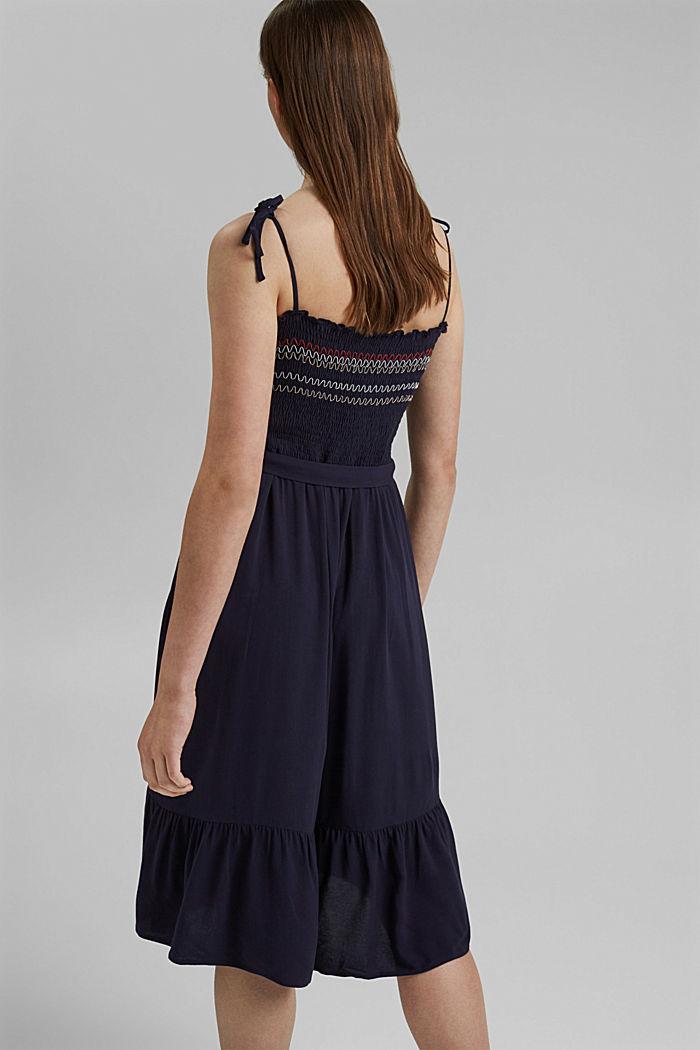 Gesmokte jurk met borduursel van LENZING™ ECOVERO™, NAVY, detail image number 2